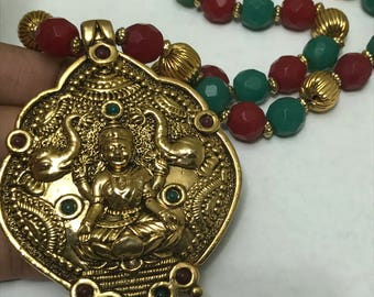 MASSIVE  Gold Plated Laxmi Pendant . Necklace . Temple jewelry