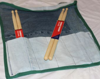 Up-cycled, Denim drumstick/knitting needle roll