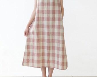 Women's Retro Linen Dress Plaid Dress Sundress Cotton Long Dress sleeveless Summer Dress