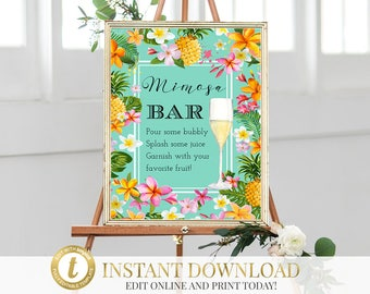 Tropical Mimosa Bar Sign, Mimosa Bar Sign, Tropical Shower, Bridal Shower, Tropical Bridal Shower, Bridal Shower Mimosa, INSTANT DOWNLOAD