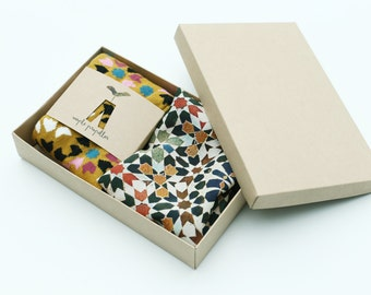 Mens gift pure silk pocket square and matching dress socks | Mediterranean tiles design