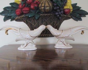MIDCENTURY BIRD FIGURINES, Pair of Midcentury bird figurines, Vintage Bird Figurines, Gold Trimmed Bird Figurines, Cream Gold Bird Figurines