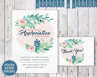 Floral Watercolor Appreciation Luncheon Invitation W/ Matching Thank You Note!