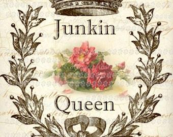 JUNKIN QUEEN printable large format digital image download Crown pink roses Buy 3 Get one Free