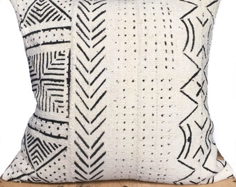 "African Mud Cloth Pillow Cover 18"" inch White One Fine Nest Mudcloth Pillow Covers"