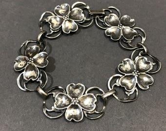 "7"", vintage Sterling silver handmade bracelet, oxidized Mexico 925 silver dogwood flower link, stamped Sterling"