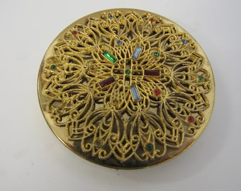Vintage Ornate Gold Toned Jeweled Round Compact