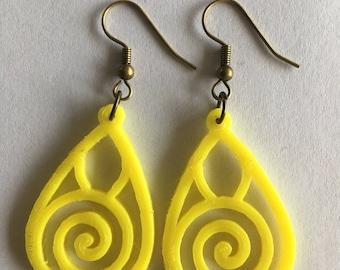 3D printed spiral earrings