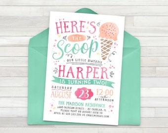 Ice cream invitation Etsy