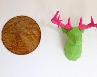 Animal sculpture made on colored pape DEER / STAG Trophy handmade DIY kit.