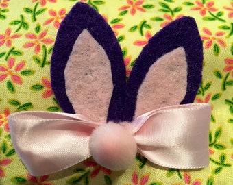 Bunny ears hair clip - purple /pink