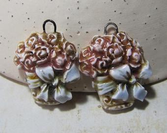Romantic flower bouquet ceramic charms, blue pink beige honey