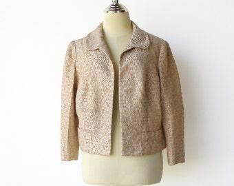 Vintage Gold Brocade / 50s Cropped Evening Jacket / Size M L