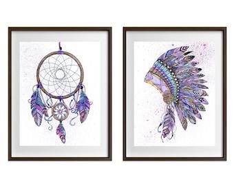 Zentangle Dreamcatcher and Native Headdress Watercolour Prints (pair) Purple set OR blue/green set. Tribal, American Indian, boho, nursery