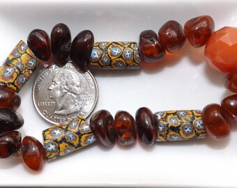 Amber and Millefiore bracelet, Venetian Beads - African Trade Beads