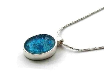 Roman Glass Pendant, Small Oval Pendant, Delicate Silver Oval Pendant, Bat Mitzva Gift, Israel Jewelry, Blue Roman Glass Necklace