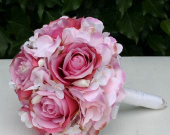Fri-Collection Bridal bouquet Biedermeier with pink roses and hydrangeas