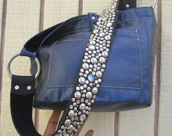 The Ball Buster bag in Metallic Midnight blue, stones n studs on shoulderstrap