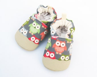 Eco-Canvas Vegan Owls in Coral / non-slip soft sole shoes / made to order / babies toddlers preschool