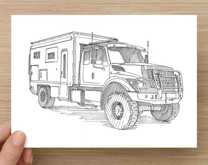 Pen and Ink Drawing of GlobalX Overland Adventure Vehicle - Sketch, Art, Pen and Ink, 5x7, 8x10