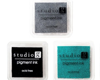 Set of 3 Mini Pigment Ink Pads from Studio G - Black, Silver & Teal