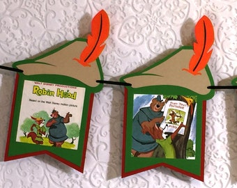 Disney's ROBIN HOOD Designer Banner ~ Maid Marian Little John ~ Colorful Story ~ 10 Flags ~ 7+ Feet Long Party & Room Decor ~ One-Of-A-Kind