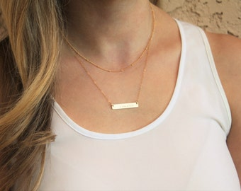 Bar Necklace, Layered Necklace Set, Custom Name Necklace Rose, Silver, Gold Layering Necklace Personalized Necklace personalized jewelry