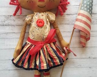 Patriotic 4th of July American Flag Annie - Primitive Raggedy Ann Dolls (HAFAIR)