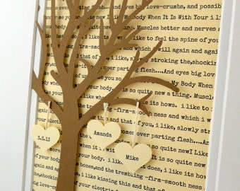 Personalized Wedding or Anniversary Gift, 3D Paper Tree with Hearts, 1st Anniversary Gift, Paper Anniversary, Wedding Vows Lyric Tree Gift