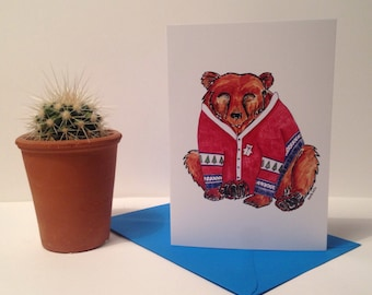 A6 Bear Christmas Card - illustration - art - greetings card