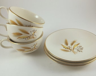 Tea Cups and Saucers, Vintage Homer Laughlin Golden Wheat, Rhythm,  6 Piece Set, Gold Trim, Coffee Cups, 1950s Mid Century Kitchen