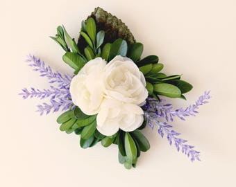 Lavender flower hair clip, Floral Hair clip, Boxwood and lavender, White ranunculus, Greenery and flowers, Bridal floral hair clip