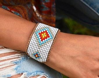 BOHO Loom beaded multicolored Bracelet, Native American style loom beaded cuff