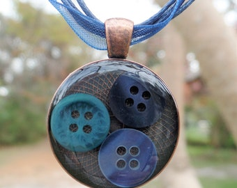 Resin jewelry, copper pendant, mixed media necklace, mixed media jewelry, blue button charm, button necklace, birthday present, sewing gift