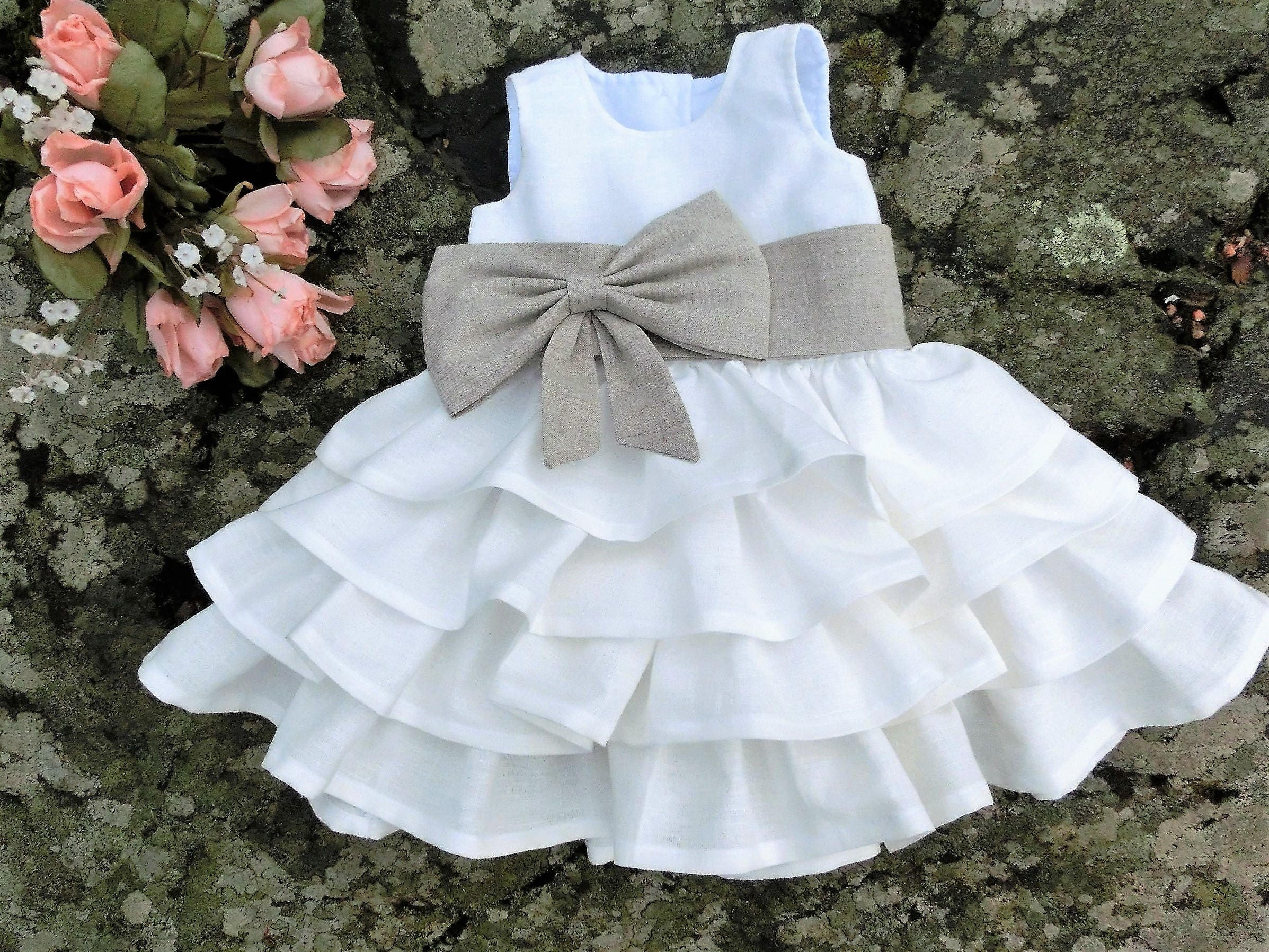 Baby ruffle dress Linen ruffle dress Baby girl dress White
