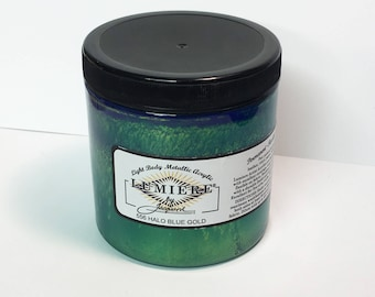 Lumiere Halo Blue Gold 556 - 8 oz Size - Brilliant Light Body Metallic Acrylic Paint - Art Craft Fabric Canvas Wood Paper Faux Finish Effect