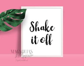 Shake It Off lyrics Taylor Swift 1989 - black & white digital printable wall art - multiple sizes - instant download
