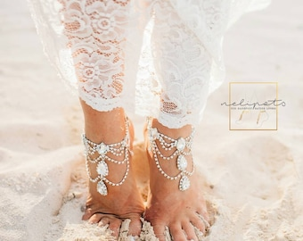 Beach Wedding Foot Jewelry Bridal Crystal Pearl Boho Slave