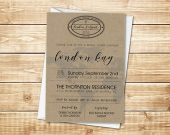 PRINTED Natural Kraft 5x7 Travel Bridal Shower Invitation with globe, continent, world silhouette, and love stamp; includes white envelope