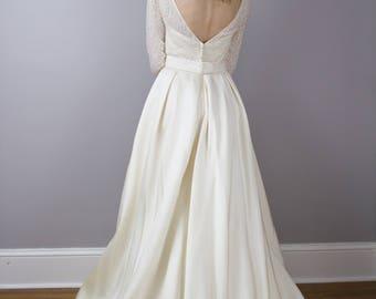 House of Bianchi designer vintage wedding gown / Devoré / velvet burnout / size Medium
