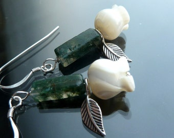 Dainty Rose Earrings carved mop roses in sterling silver flowers green moss agate stems OOAK jewelry
