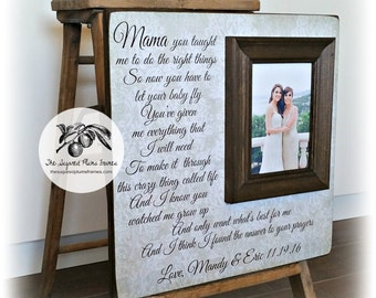 Sentimental Mother of the Bride Gift, Parents Gift Wedding, Personalized Picture Frame, 16x16 The Sugared Plums Frames