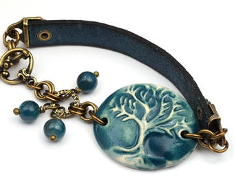 Ceramic tree of life bracelet, leather, brass, blue green apatite beads 7 inches long