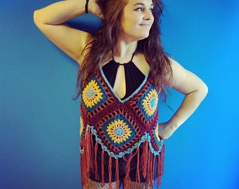 Crochet Camp Collection - Flowy Tank Top with Fringe