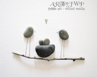 Unframed Unique Pebble Art - Two Love Birds And A Nest On A Branch