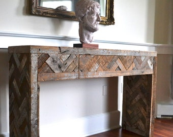 Reclaimed Wood Console Table,  Steel Console Table, Steel and Wood Table,