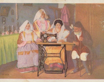 Singer Treadle Sewing Machine  Advertising Postcard - Sewing Collectible