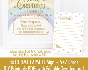 Time Capsule Sign & Cards - Printable Rainbow Unicorn First Birthday Party Decorations, Baby Shower Dear Baby Cards - EDITABLE Text PDFs