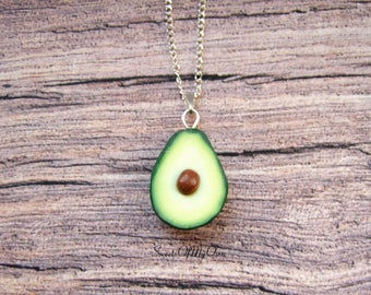 Avocado Necklace - Food Necklace -Avocado Charm - Food Jewellery - Handmade in UK with Polymer Clay