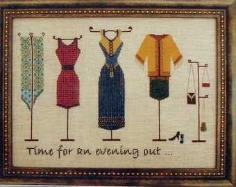 Cross Stitch Pattern | Cross Stitch Pattern | Turquoise Graphics & Designs AN EVENING OUT Clothes Clothing - Counted Cross Stitch